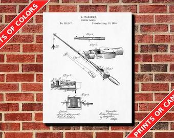 Fishing Tackle Patent Poster Art Fishing Rod Design Angling Print Fishing Blueprint Fishing Decor Tech Art Fisherman Gift