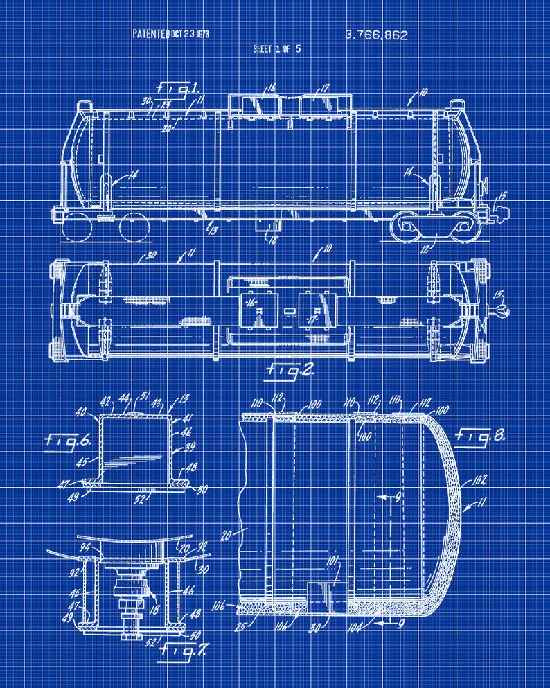 Railroad Tank Car Patent Print, Vintage Railway Poster Wall Art Railroad  Freight Car, Rail Wagon