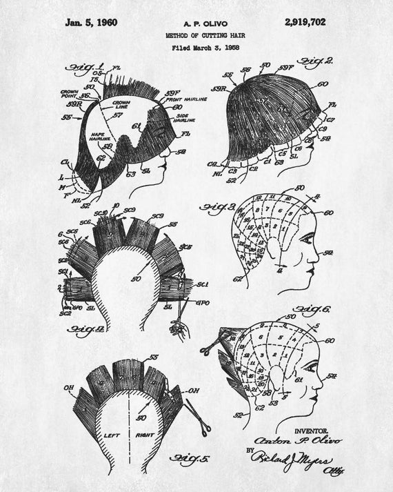 Salon Patent Print Hair Cutting Blueprint Hairdressing Patent Salon on
