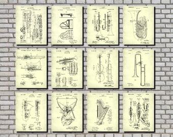 Orchestral Instruments Patent Prints Set 12 Posters, Musical Instruments Posters, Musician Gift, Orchestra Prints, Music Room Decor