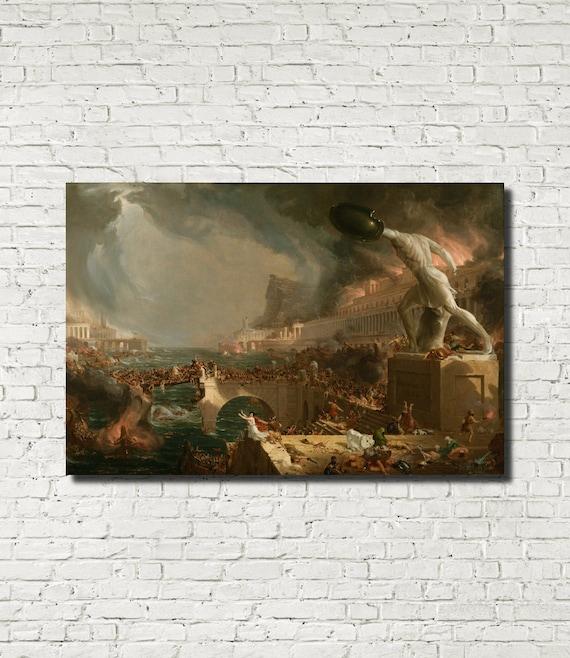 Course Of Empire Destruction Thomas Cole Painting Poster Fine Art Re-Print A4