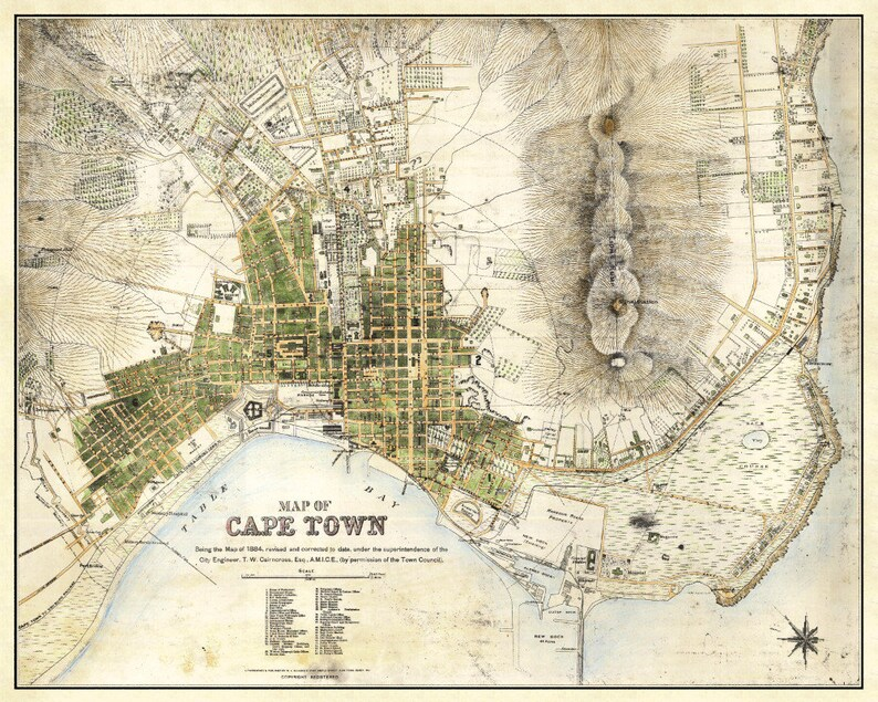 Cape Town Map Vintage South African Atlas Poster Cape Town Etsy