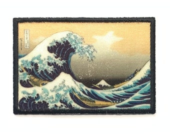 The Great Wave off Kanagawa 2x3 inch Iron on Moral Patch!  VELCRO® Brand Fastener Available