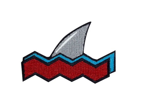 Shark attack embroidered iron on patch iron on applique etsy