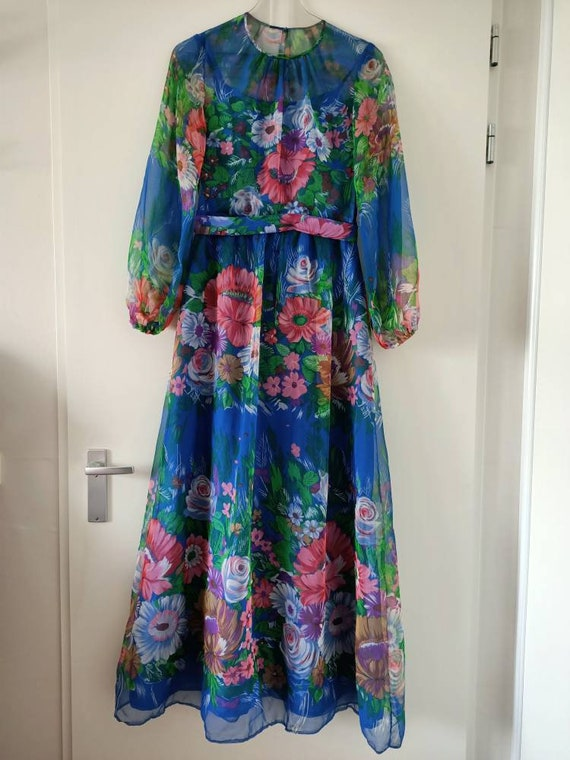 Blue floral translucent Seventies dress