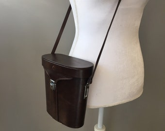 6eb0fead3d7911 Vintage leather and vinyl camera bag / binocular bag - cross body handbag