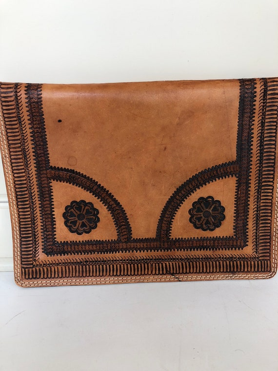 Vintage 70's hand tooled leather portfolio