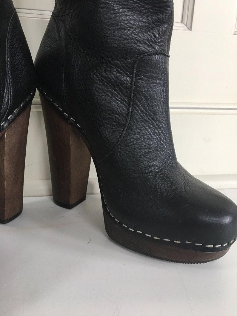 d2f87ad90b9 Tall black leather platform boots size 7 clog bottom boots