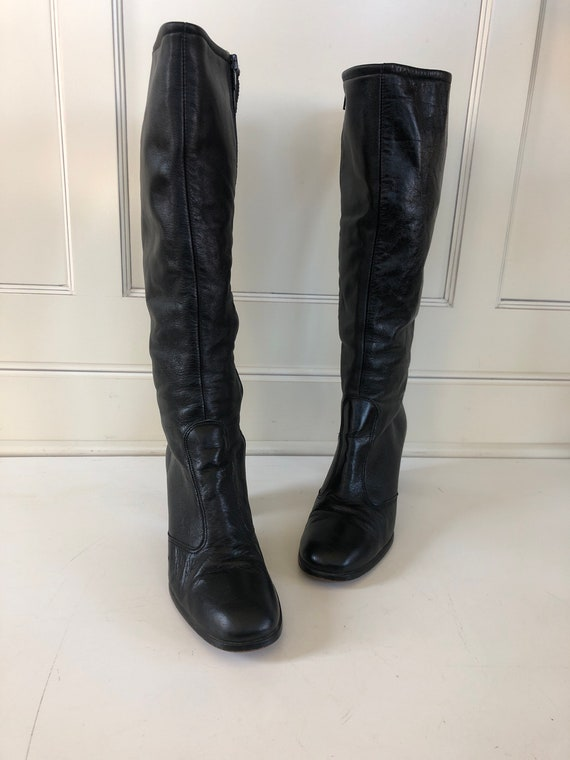 Vintage leather go go boots- classic black leather