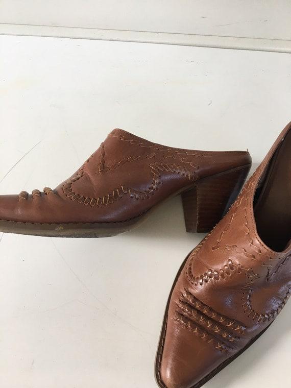 Vintage leather cowboy boots - cowboy mules , clo… - image 8