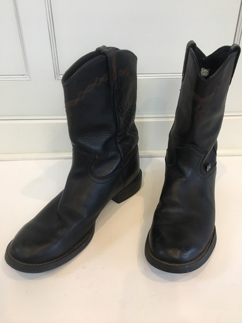 df411c88dae Justin black leather pull on roper boots- work boots- US mens size 9.5 D
