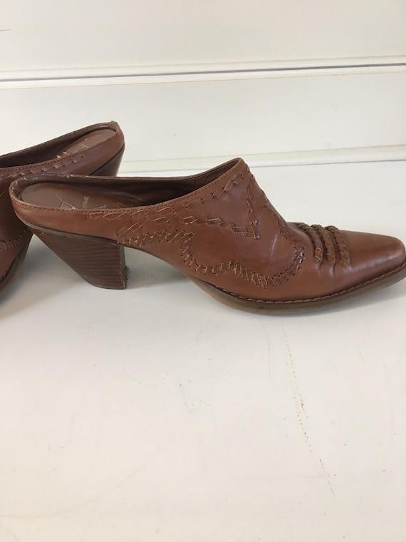 Vintage leather cowboy boots - cowboy mules , clog