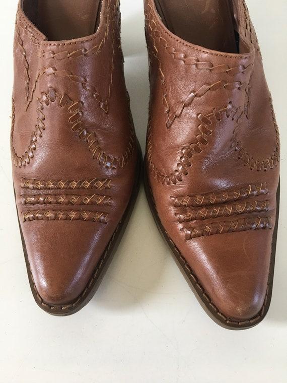 Vintage leather cowboy boots - cowboy mules , clo… - image 4