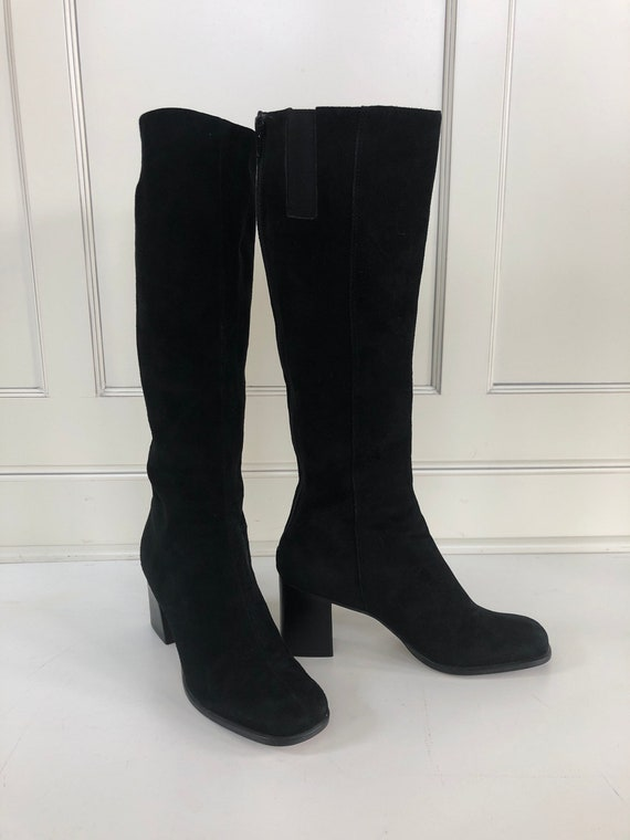 Black suede tall boots- Go go boot- chunky heel bl