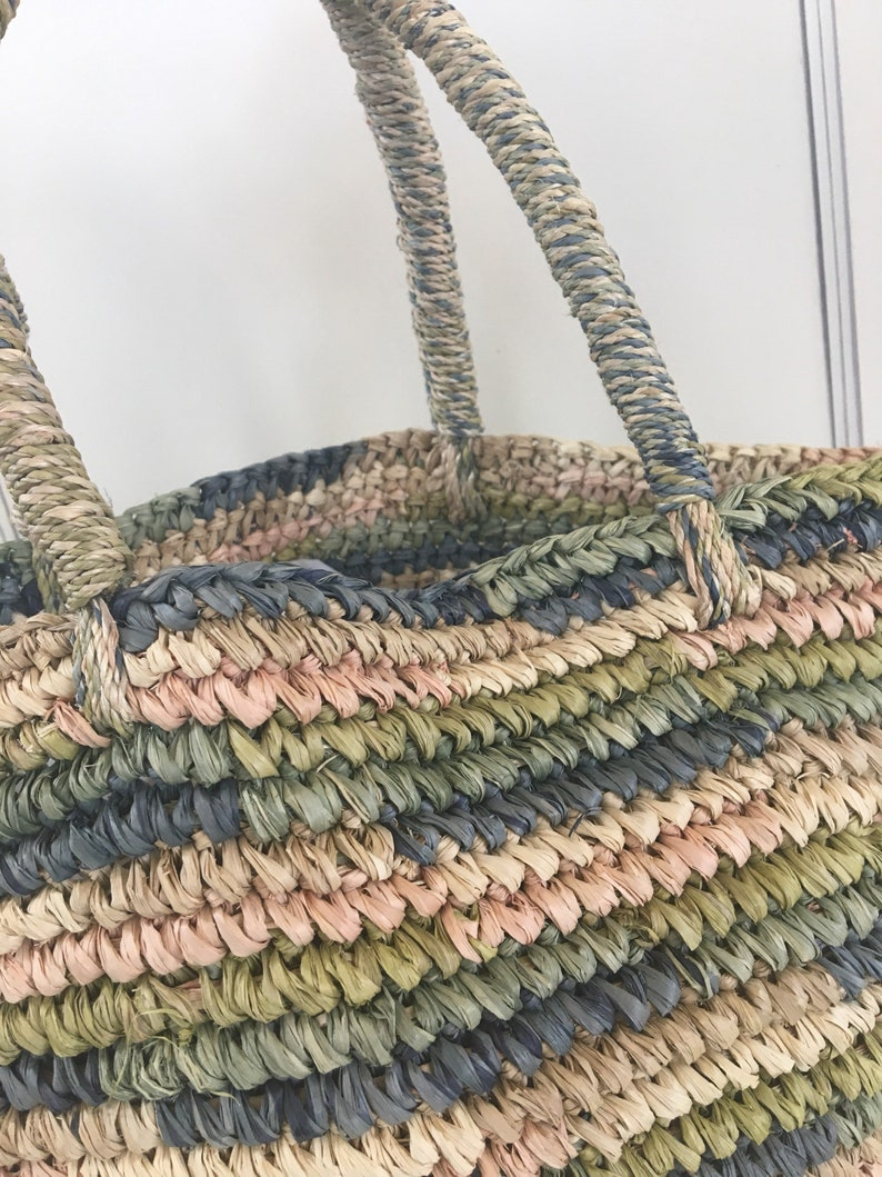 shoppers tote Vintage straw market bag straw carry all