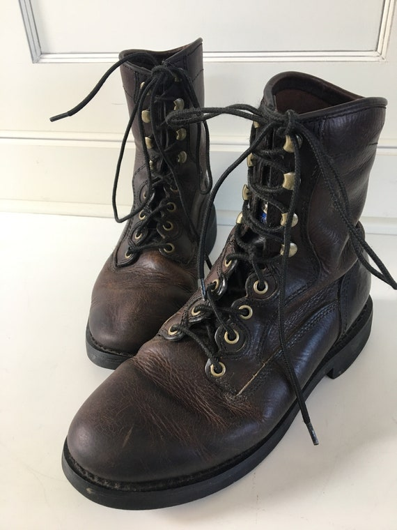Vintage leather work boots - men size 7.5 - logger