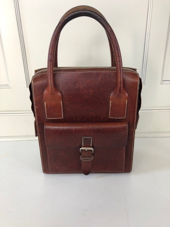 Vintage 90's saddle leather handbag- leather handb