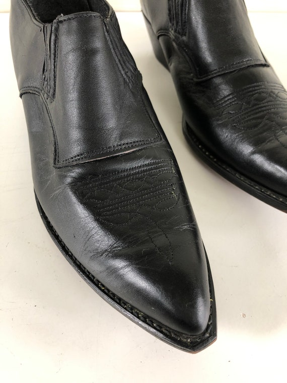 Vintage 80's - 90's black leather ankle boot - Cod
