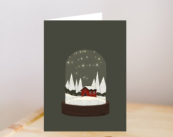 Christmas greeting, Christmas card, Snow greeting card, little red cottage card, snowy card, Christmas lights greeting, green Christmas card