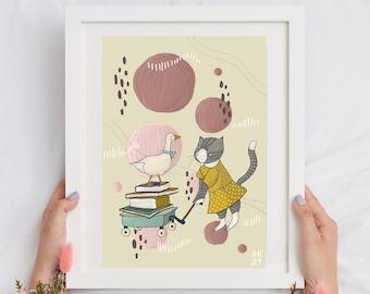 Cottage core illustration, children illustration, download illustration, cat illustration, book art, goose illustration, farm animals art