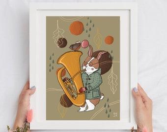 Cottage core illustration, children illustration, download illustration, rabbit illustration, robin illustration, music illustration