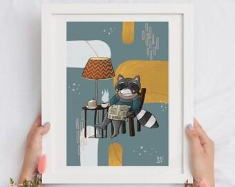 Raccoon illustration, children illustration, download illustration, snack illustration, reading illustration, kids wall art, autumn art