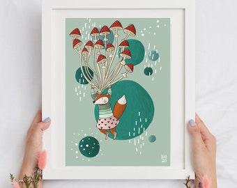 Cottage core illustration, children illustration, download illustration, fox illustration, mushroom art, woodland wall art, kids decor