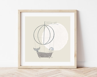 Print of illustration with a tattooed siren in a vintage tub suspended with a hot air balloon. Siren in love on the little flag on top