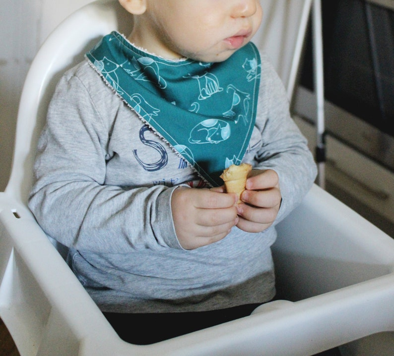 Bandana bib for newborn 0  9 months with blue green cotton image 0