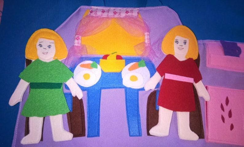 bag Travel Dollhouse with two felt dolls Travel dollhouse