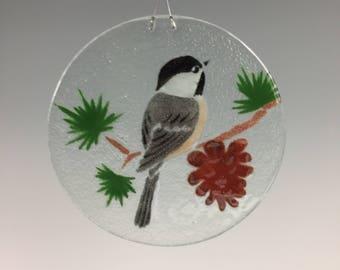 Chickadee Suncatcher, Chickadee, Pine Cone Window Hanging, Fused Glass, Sun Catcher, Bird
