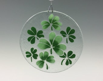 Recycled glass shamrock suncatcher window art green shamrock ornament