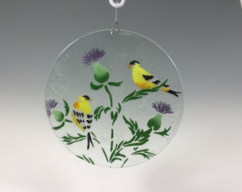 Goldfinch Suncatcher, Thistle and Goldfinch Window Hanging, Fused Glass, Glass Sun Catcher, Yellow Birds