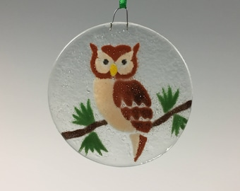 Owl Ornament, Fused Glass Owl, Birds, Glass ornament, Owls, Owl Decor