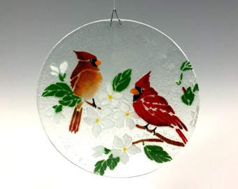 Cardinal Suncatcher, Cardinal Window Hanging, Fused Glass, Sun Catcher, Red Birds, Bird Suncatcher