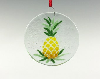 Pineapple Ornament, Fused Glass, Glass Ornament, Welcome Design, Fruit