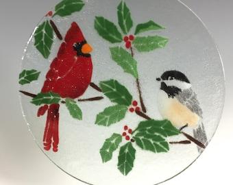 Cardinal and Chickadee Suncatcher, Cardinal Window Hanging, Bird Suncatcher, Chickadee, Holly, Holiday Suncatcher