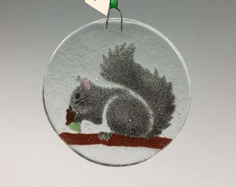 Squirrel Ornament, Fused Glass, Gray Squirrel, Acorn, Animals
