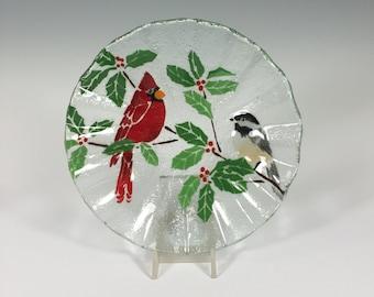 Cardinal and Chickadee Fused Glass Bowl, Cardinal, Chickadee, Holly, Holiday Dish