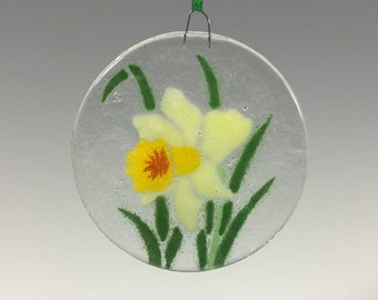 Daffodil Ornament, Fused Glass, Jonquil, Narcissus, Flower Ornament, Daffodils