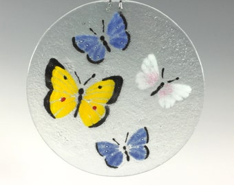 Butterfly Suncatcher , Fused Glass Window Hanging, Small Sun Catcher, Butterflies