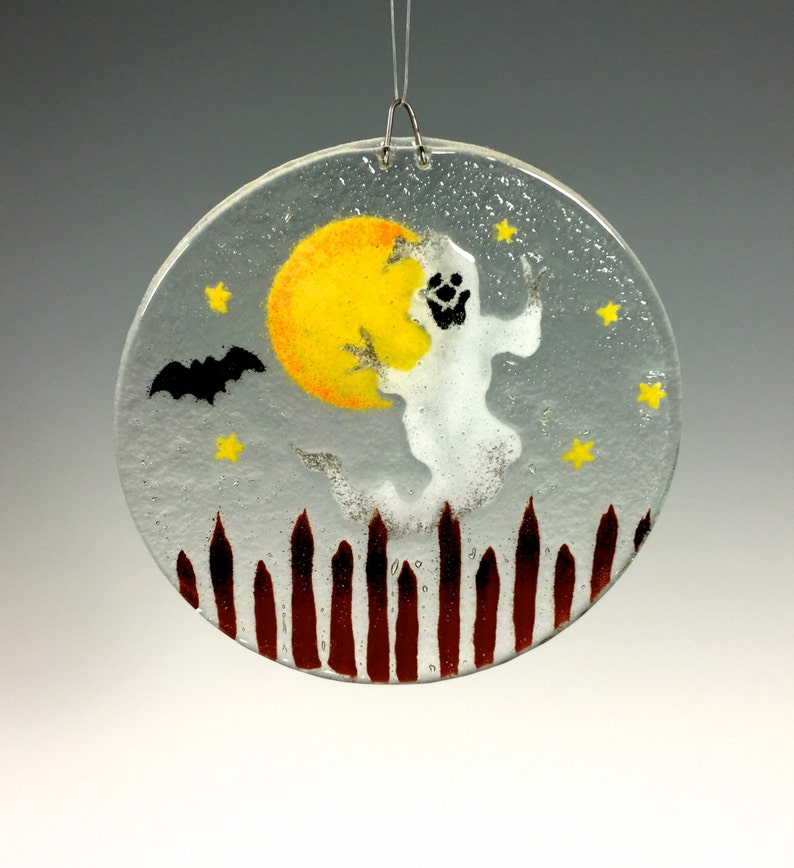 Ghost Window Hanging Fused Glass Halloween Suncatcher