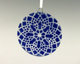 Lace Ornament, Fused Glass Ornament, Cobalt Blue, Doily, Blue Suncatcher