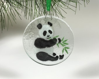 Panda Ornament, Fused Glass, Glass Bear, Pandas, Suncatcher