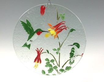 Hummingbird Suncatcher, Fused Glass, Hummingbirds, Humming Bird, Bird Window Hanging, Columbine