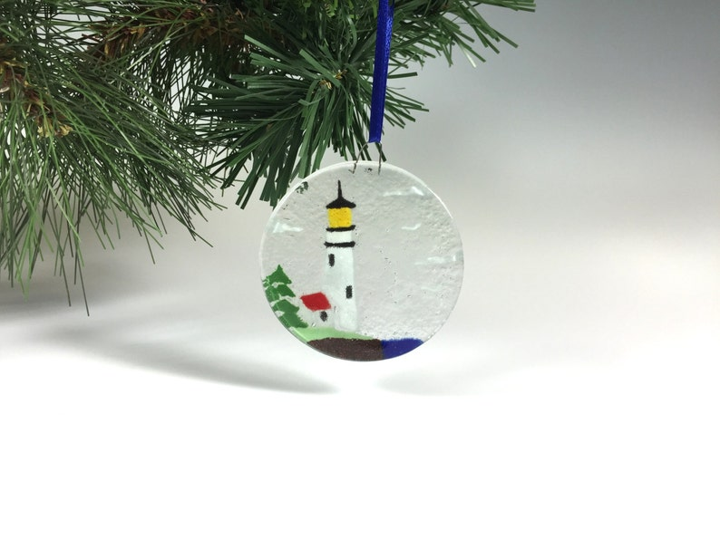 Lighthouse Ornament Fused Glass Light House Costal Etsy