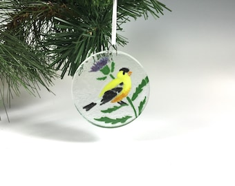 Goldfinch Ornament, Fused Glass, Thistle, Finch, Birds, Yellow Bird, Bird Ornament, Christmas Ornament