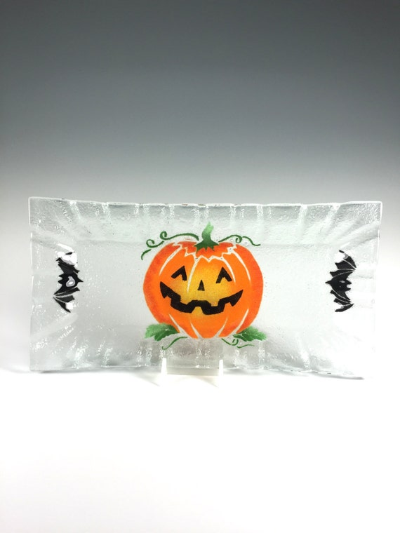 halloween plate pumpkin serving tray fused glass etsy