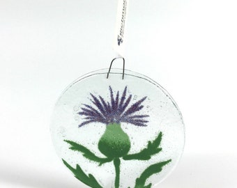 Thistle Ornament, Fused Glass, Thistles, Scottish Decor, Purple Flowers