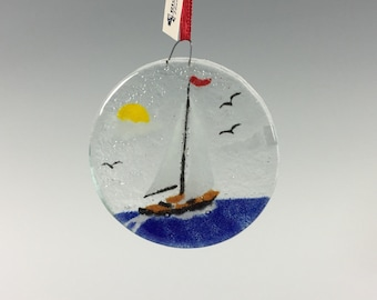 Sailboat Ornament, Fused Glass Ornament, Seashore, Sailboat Decor